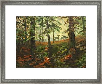 We Know That Stags Here Somewhere Framed Print