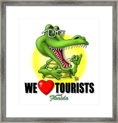 We Love Tourists Gator Framed Print