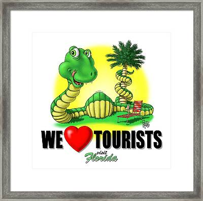 We Love Tourists Snake Framed Print