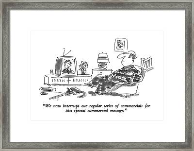 We Now Interrupt Our Regular Series Framed Print by Dean Vieto