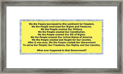 We The People 2 Framed Print by Bruce Iorio