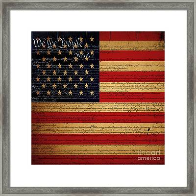 We The People - The Us Constitution With Flag - Square V2 Framed Print by Wingsdomain Art and Photography
