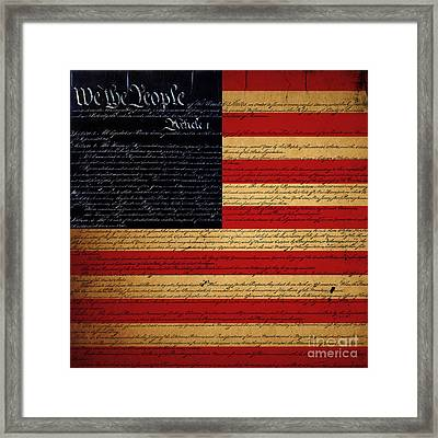 We The People - The Us Constitution With Flag - Square Framed Print