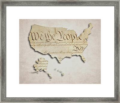 We The People - Us Constitution Map Framed Print