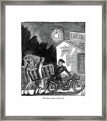We Want To Report A Stolen Car Framed Print by Peter Arno