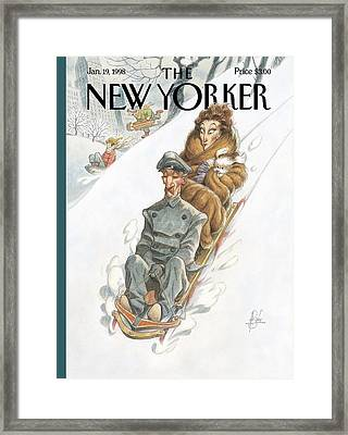 Wealthy Woman Rides A Sled With A Driver Framed Print by Peter de Seve