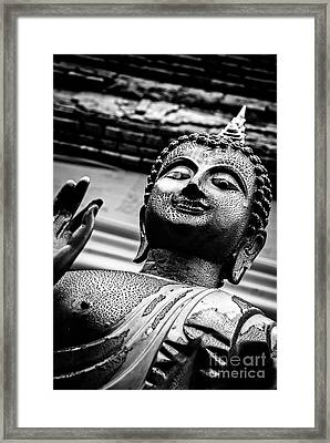 Wear-and-tear Buddha - Black And White Framed Print by Dean Harte