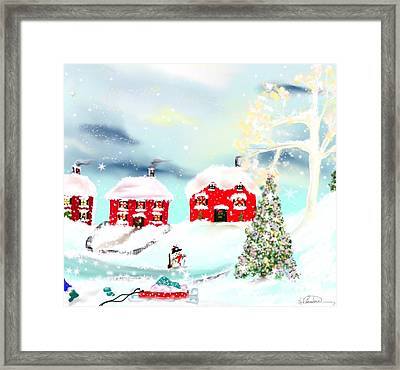 Framed Print featuring the painting Wear Those Hats And Mittens by Lori  Lovetere