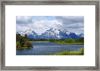 Weather On The Teton Mountain Range At Oxbow Bend Framed Print