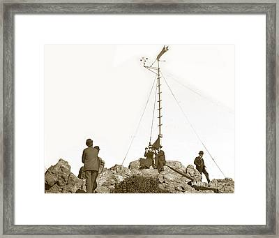 Framed Print featuring the photograph Weather Station Mount Tamalpais Marin County California Circa 1902 by California Views Mr Pat Hathaway Archives