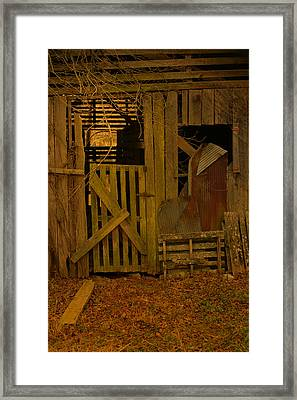 Weathered Barn Detail Framed Print by Nina Fosdick
