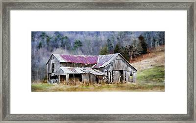 Weathered Barn Framed Print by Kathy Jennings