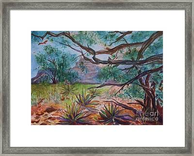 Weathered Branches And Yuccas In Red Rock Country Framed Print by Ellen Levinson