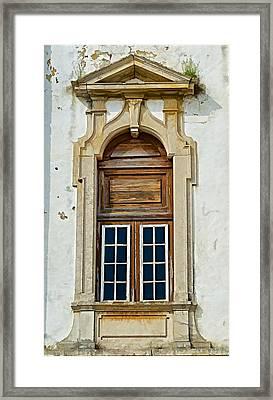 Weathered Brown Wood Window Of Portugal Framed Print
