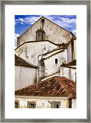 Weathered Buildings Of The Medieval Village Of Obidos Framed Print by David Letts