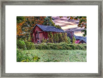 Weathered Connecticut Barn Framed Print by John Vose