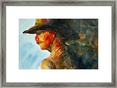 Weathered Cowboy Framed Print by Jani Freimann
