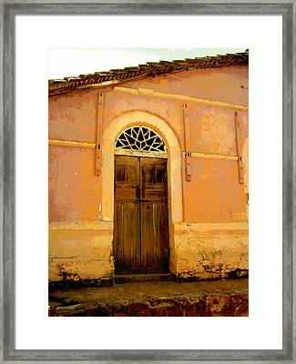 Weathered Door Mexico Framed Print by Ann Powell