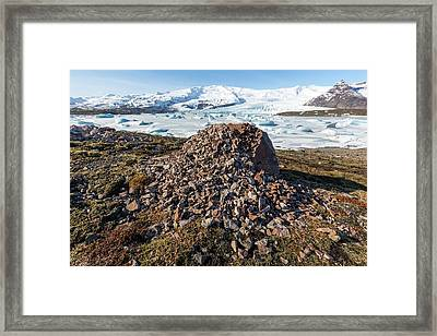 Weathered Erratic And Glacial Lake Framed Print by Dr Juerg Alean