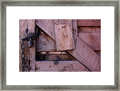 Weathered Gate With Lock And Chain Framed Print by Joe Kozlowski