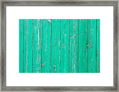 Weathered Green Wood Framed Print by Tom Gowanlock