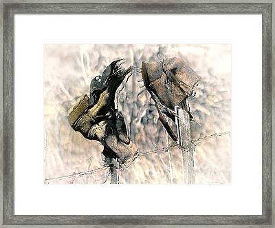 Weathered Leather Framed Print by Barbara D Richards