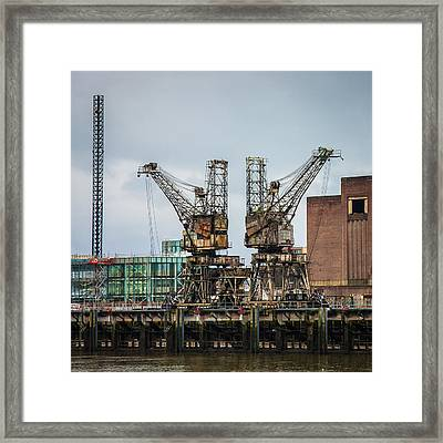 Weathered Rusty Coal Cranes Framed Print by Semmick Photo