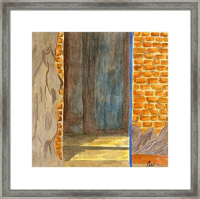 Weathered Wall With Doorway Framed Print by Bav Patel