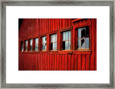 Weathered Windows Framed Print by Mamie Gunning