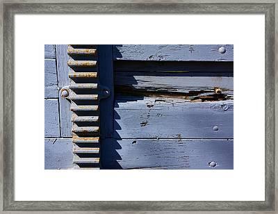 Weathered Wood And Metal Railing Framed Print