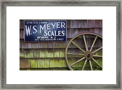 Weathered Wood Wagon Wheel Framed Print by David Letts