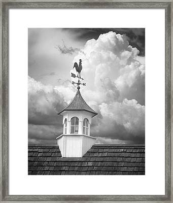Weathervane And Clouds Framed Print