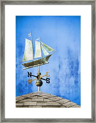 Weathervane Clipper Ship Framed Print by Carol Leigh