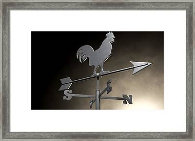 Weathervane Cockerel Isolated Framed Print by Allan Swart