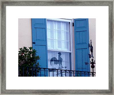Charleston Weathervane Reflection Framed Print by Kathy Barney