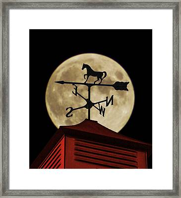 Weathervane Before The Moon Framed Print
