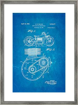 Weaver Indian Motorcycle Shaft Drive Patent Art 1943 Blueprint Framed Print