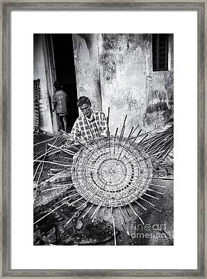 Weaving A Goat Pen Monochrome Framed Print by Tim Gainey