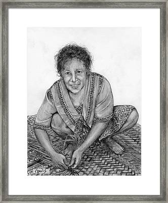 Framed Print featuring the drawing Weaving A Mat 2 by Lew Davis