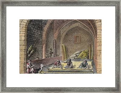 Weaving A Rug, From Volume II Arts Framed Print