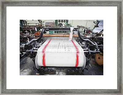 Weaving Cotton Cloth In The Weaving Shed Framed Print by Ashley Cooper
