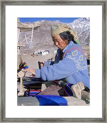 Weaving Scarves In Muktinath Framed Print by Richard Berry
