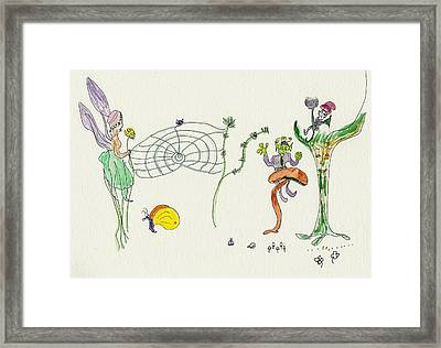 Framed Print featuring the painting Web Faeries by Helen Holden-Gladsky