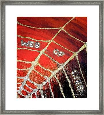Web Of Lies Framed Print by Karen Jane Jones