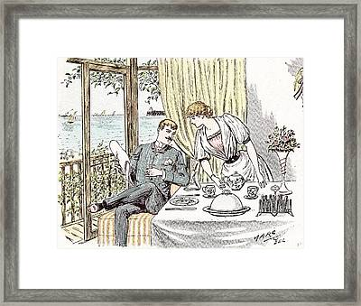 Wedding Anouncement In 1892 At The British Seaside Love Framed Print