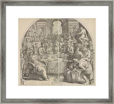 Wedding At Cana, Jacob Matham, Hendrick Goltzius Framed Print by Jacob Matham And Hendrick Goltzius And Simon Sovius