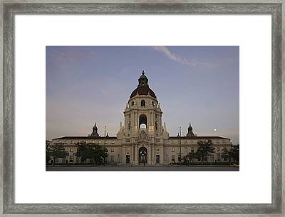 Framed Print featuring the photograph Wedding At Moonrise - Pasadena City Hall California by Ram Vasudev