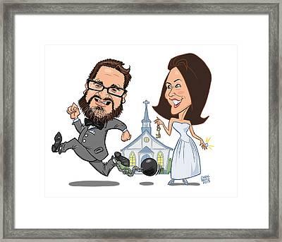 Wedding Beer Label Framed Print by Chris Berg