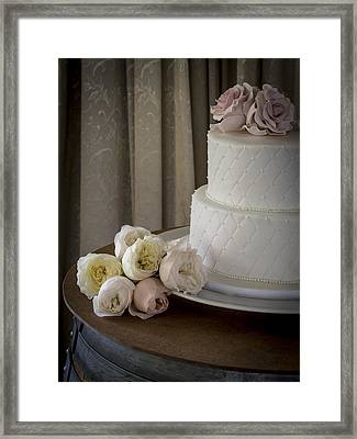 Wedding Cake Adorned With Roses Framed Print by Kaleidoscopik Photography