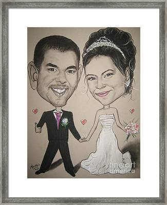 Wedding Caricature Framed Print by Anastasis  Anastasi